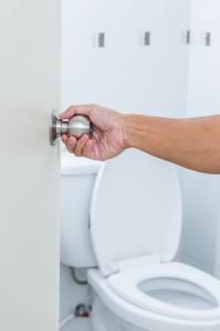 Picture of door handle in a restroom